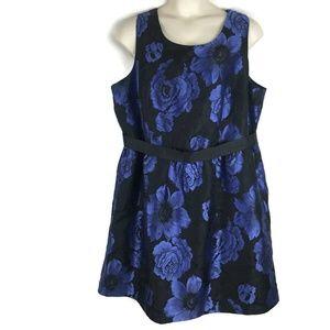 Lane Bryant 26 Black Blue Floral Dress